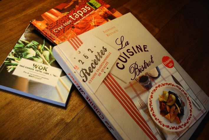 Wok - Thaï, chinois, vietnamien, indien - Marabout - 2008 / C'est topo tapas. Bodega et petits plats sympas - Dormonval - 2008 / La cuisine bistrot - Stéphane Reynaud - France Loisirs - 2007