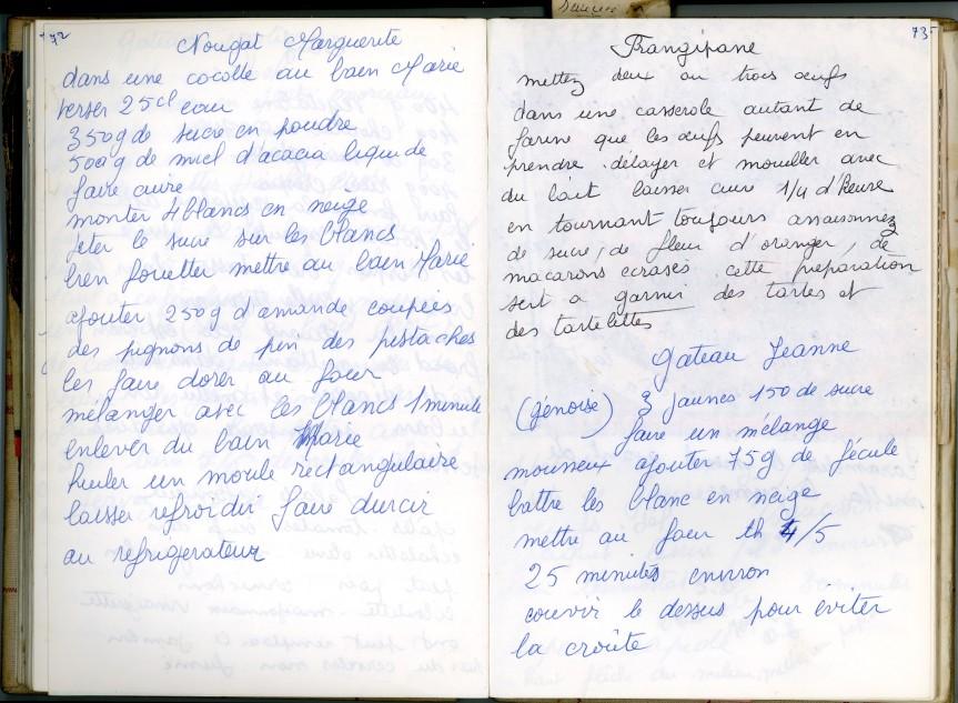 Livre Mamie Bichette, pages 72-73 / Nougat Marguerite / Frangipane / Gâteau Jeanne